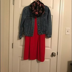 Red JJill dress with Jacket & Scarf